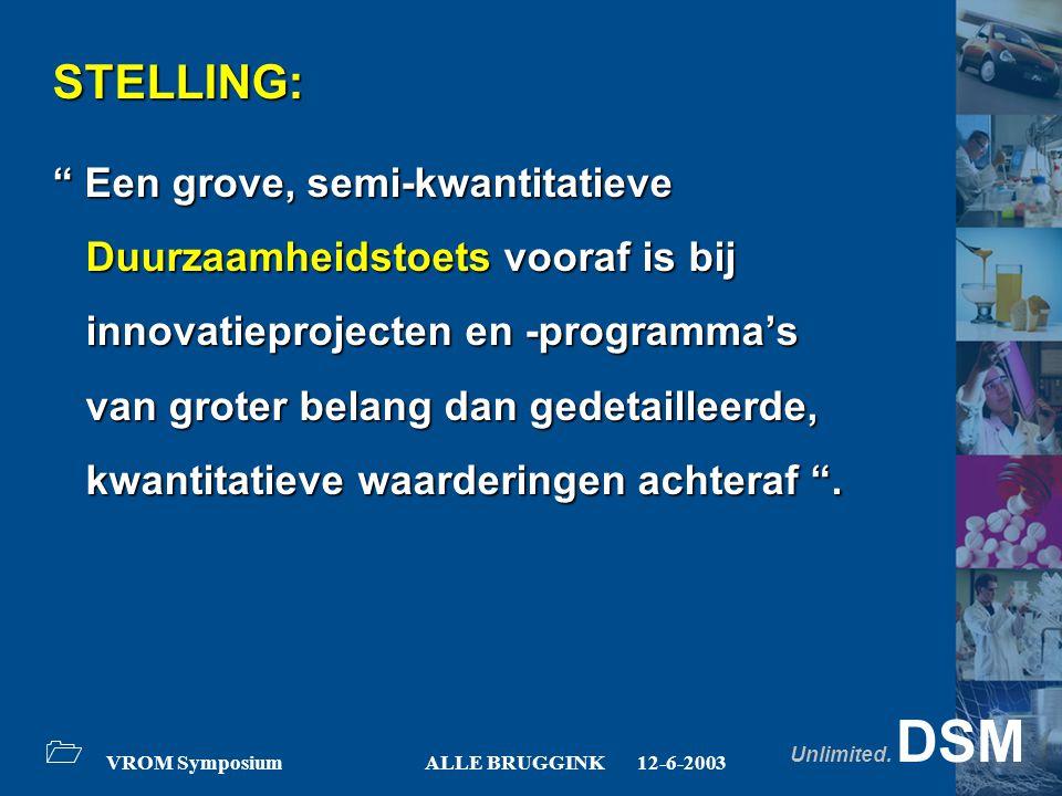 "Unlimited. DSM 1 VROM SymposiumALLE BRUGGINK12-6-2003 STELLING: "" Een grove, semi-kwantitatieve Duurzaamheidstoets vooraf is bij Duurzaamheidstoets vo"