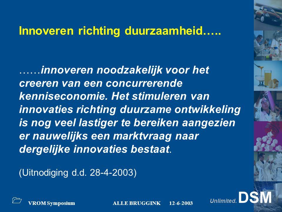 Unlimited. DSM 1 VROM SymposiumALLE BRUGGINK12-6-2003 Innoveren richting duurzaamheid….. ……innoveren noodzakelijk voor het creeren van een concurreren