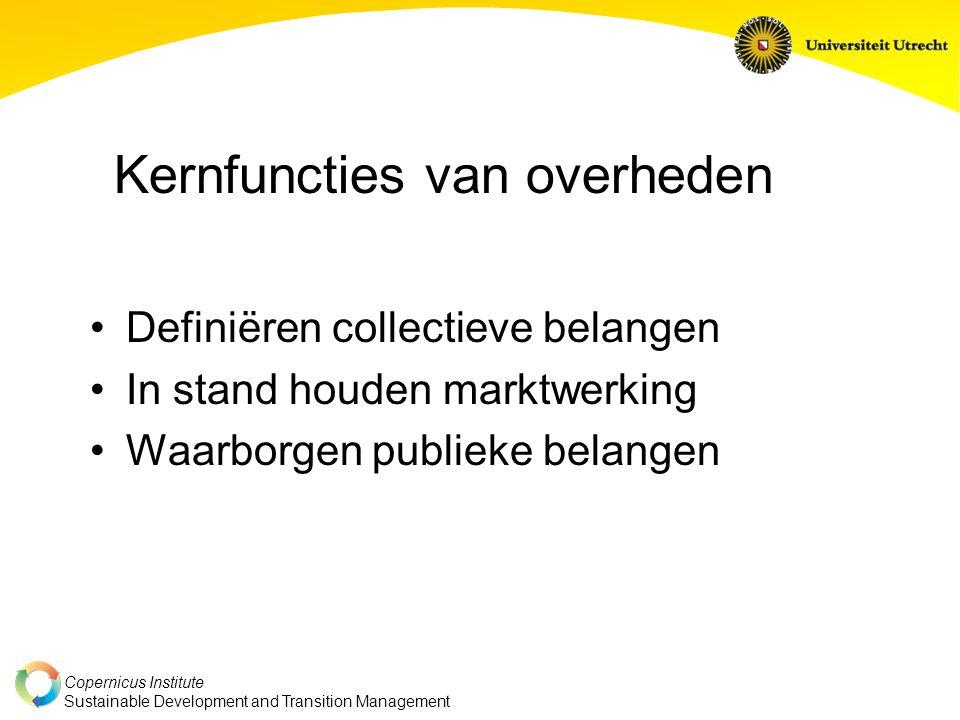 Copernicus Institute Sustainable Development and Transition Management Definiëren collectieve belangen In stand houden marktwerking Waarborgen publieke belangen Kernfuncties van overheden