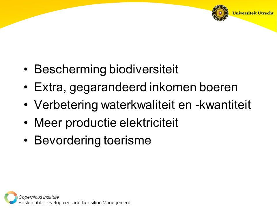 Copernicus Institute Sustainable Development and Transition Management Bescherming biodiversiteit Extra, gegarandeerd inkomen boeren Verbetering waterkwaliteit en -kwantiteit Meer productie elektriciteit Bevordering toerisme