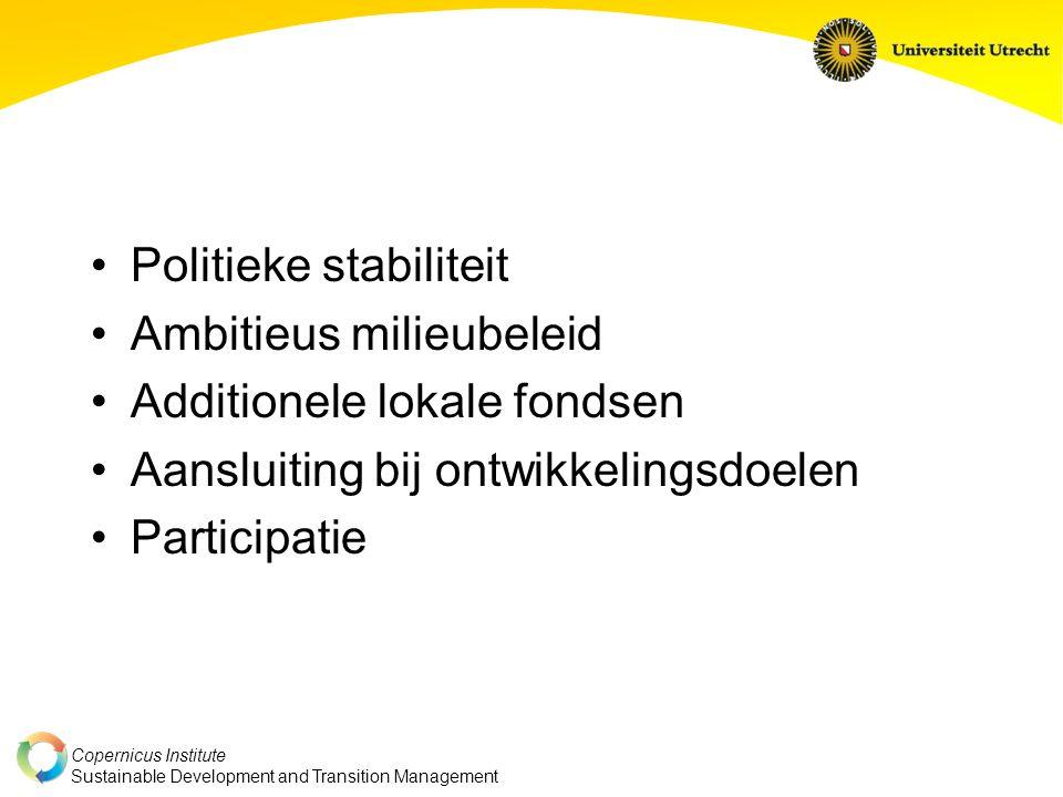 Copernicus Institute Sustainable Development and Transition Management Politieke stabiliteit Ambitieus milieubeleid Additionele lokale fondsen Aansluiting bij ontwikkelingsdoelen Participatie
