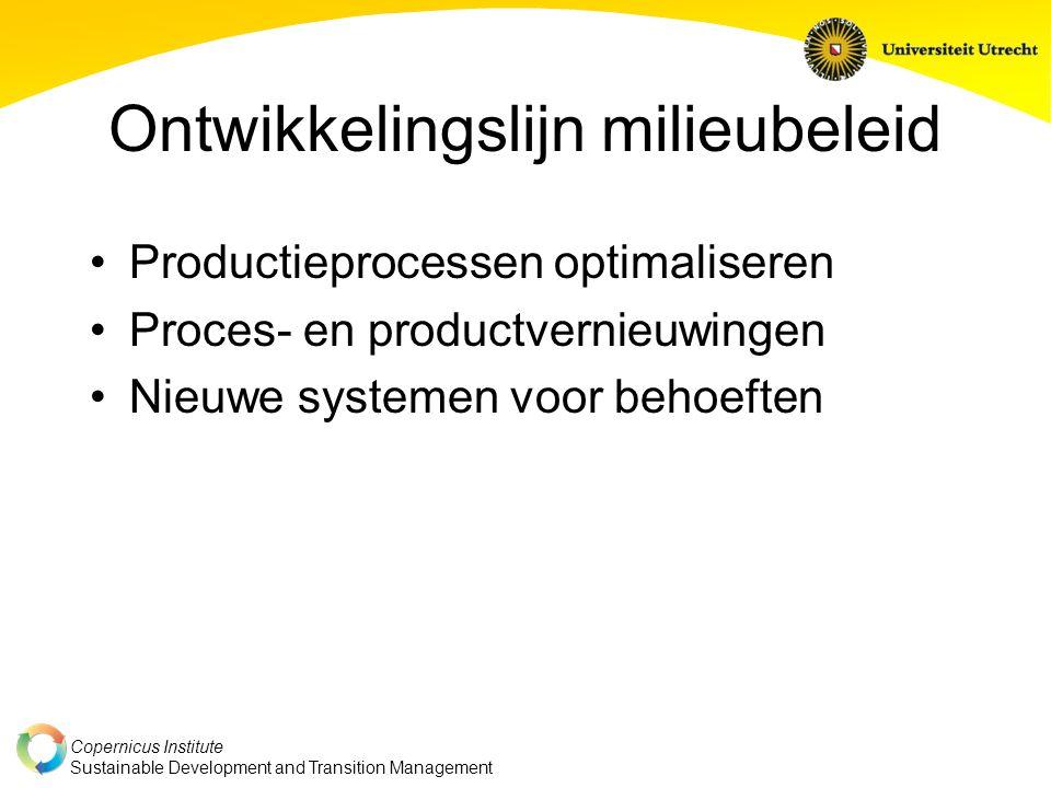Copernicus Institute Sustainable Development and Transition Management Ontwikkelingslijn milieubeleid Productieprocessen optimaliseren Proces- en productvernieuwingen Nieuwe systemen voor behoeften