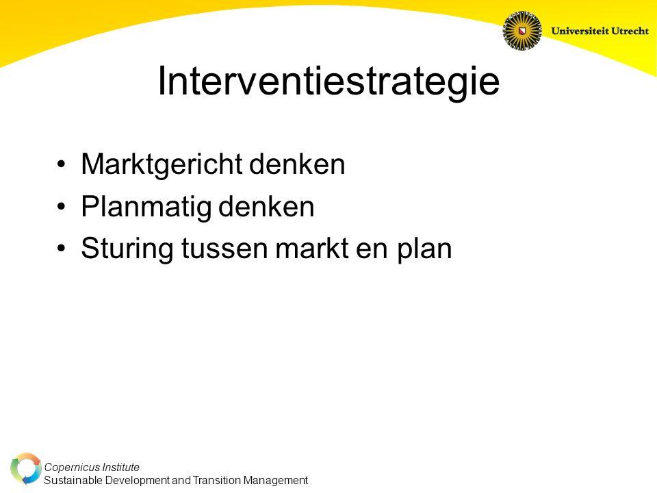 Copernicus Institute Sustainable Development and Transition Management Interventiestrategie Marktgericht denken Planmatig denken Sturing tussen markt en plan