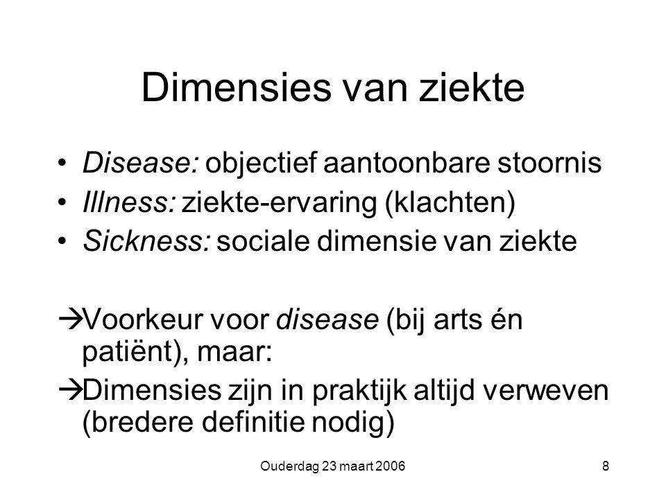 Ouderdag 23 maart 20068 Dimensies van ziekte Disease: objectief aantoonbare stoornis Illness: ziekte-ervaring (klachten) Sickness: sociale dimensie van ziekte  Voorkeur voor disease (bij arts én patiënt), maar:  Dimensies zijn in praktijk altijd verweven (bredere definitie nodig)