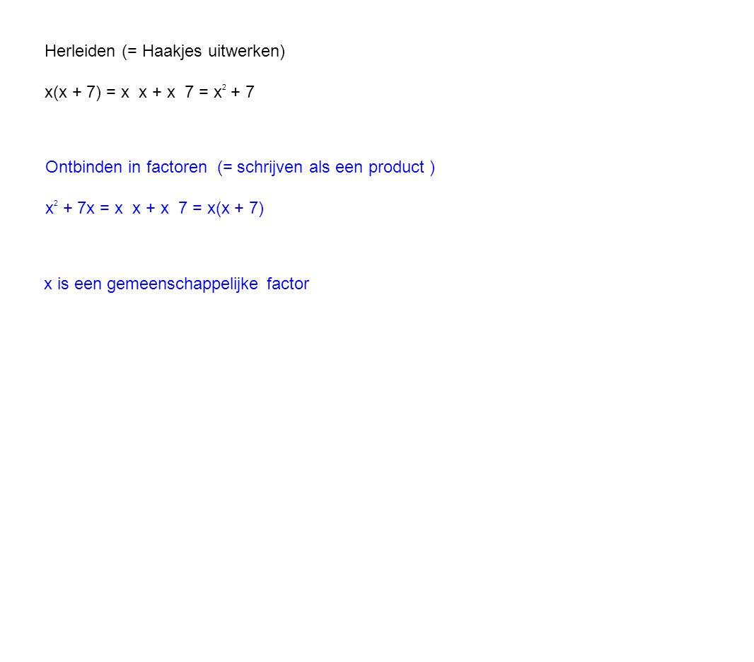 Ontbinden in factoren (= schrijven als een product ) x 2 + 7x = x x + x 7 = x(x + 7) Herleiden (= Haakjes uitwerken) x(x + 7) = x x + x 7 = x 2 + 7 x is een gemeenschappelijke factor