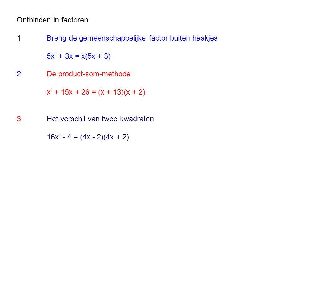 Ontbinden in factoren 1Breng de gemeenschappelijke factor buiten haakjes 5x 2 + 3x = x(5x + 3) 2De product-som-methode x 2 + 15x + 26 = (x + 13)(x + 2) 3Het verschil van twee kwadraten 16x 2 - 4 = (4x - 2)(4x + 2)