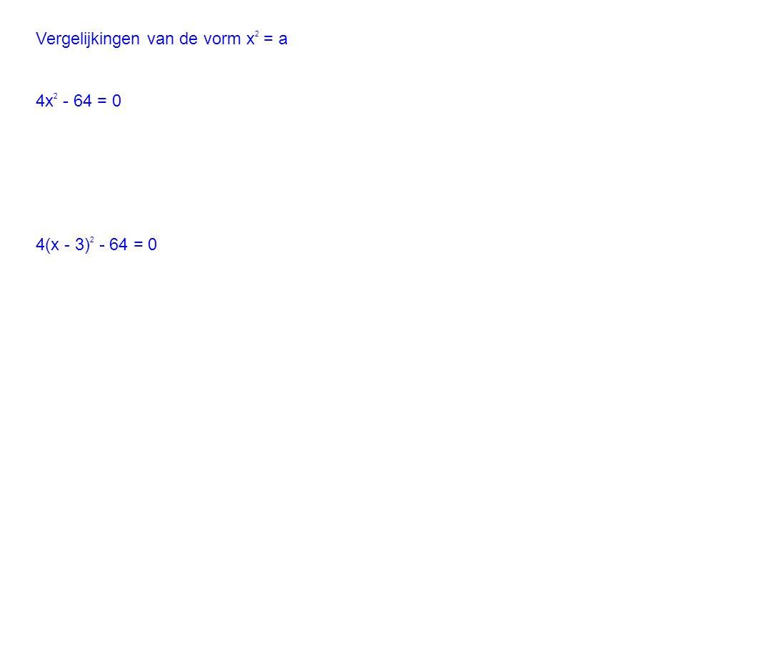 Vergelijkingen van de vorm x 2 = a 4x 2 - 64 = 0 4(x - 3) 2 - 64 = 0
