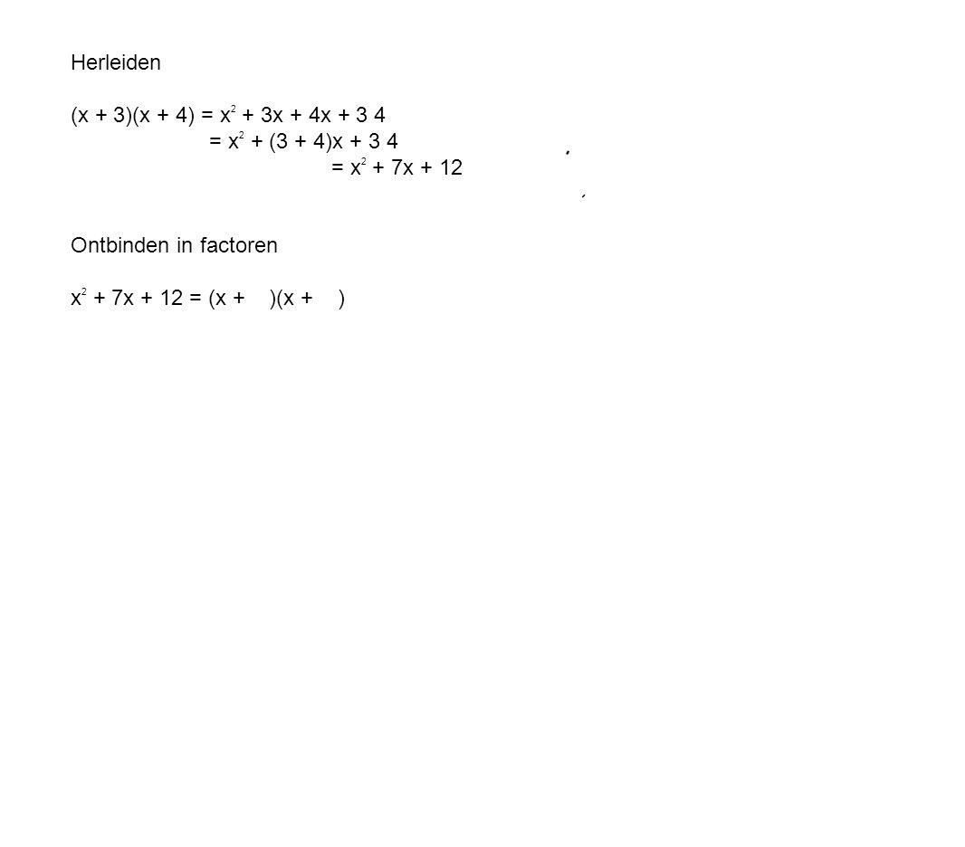 Herleiden (x + 3)(x + 4) = x 2 + 3x + 4x + 3 4 = x 2 + (3 + 4)x + 3 4 = x 2 + 7x + 12 Ontbinden in factoren x 2 + 7x + 12 = (x + )(x + )