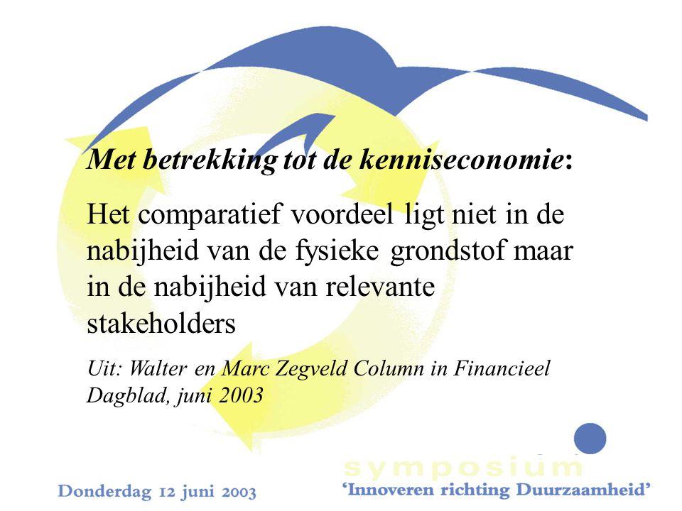 Met betrekking tot de kenniseconomie: Het comparatief voordeel ligt niet in de nabijheid van de fysieke grondstof maar in de nabijheid van relevante stakeholders Uit: Walter en Marc Zegveld Column in Financieel Dagblad, juni 2003
