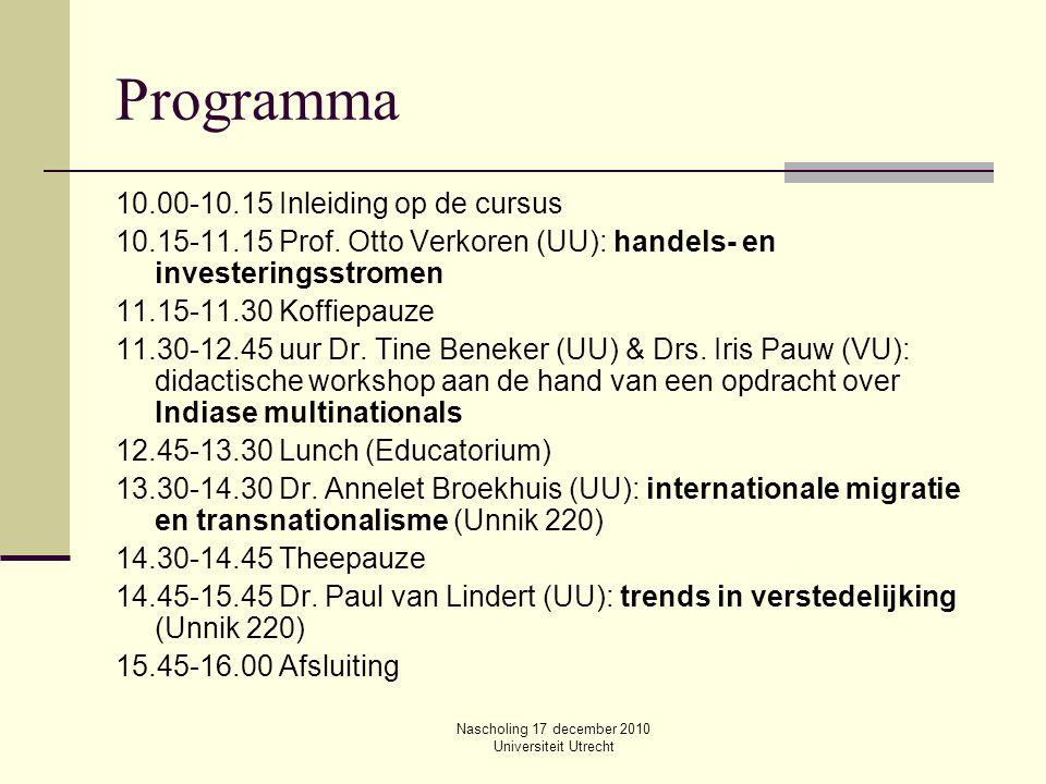 Nascholing 17 december 2010 Universiteit Utrecht Programma 10.00-10.15 Inleiding op de cursus 10.15-11.15 Prof. Otto Verkoren (UU): handels- en invest
