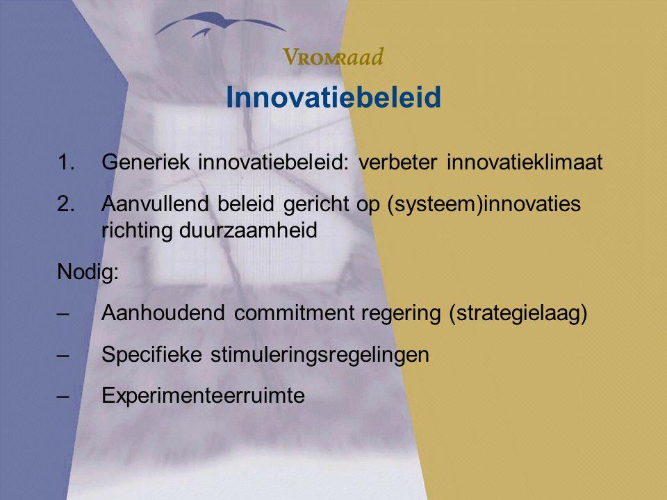 Innovatiebeleid 1.Generiek innovatiebeleid: verbeter innovatieklimaat 2.Aanvullend beleid gericht op (systeem)innovaties richting duurzaamheid Nodig: –Aanhoudend commitment regering (strategielaag) –Specifieke stimuleringsregelingen –Experimenteerruimte