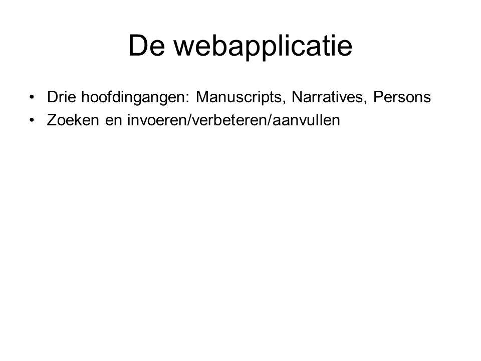 De webapplicatie Drie hoofdingangen: Manuscripts, Narratives, Persons Zoeken en invoeren/verbeteren/aanvullen