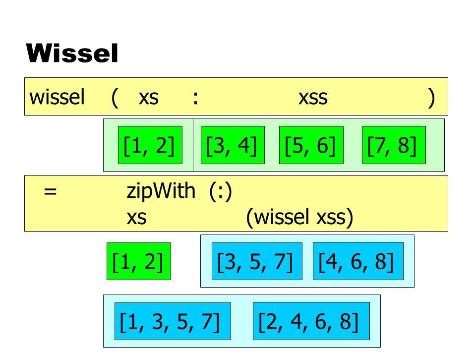 Wissel [1, 2][3, 4][5, 6][7, 8] [1, 3, 5, 7] [2, 4, 6, 8] [3, 5, 7] [4, 6, 8] [1, 2] wissel ( xs : xss ) = (wissel xss) xs zipWith (:)