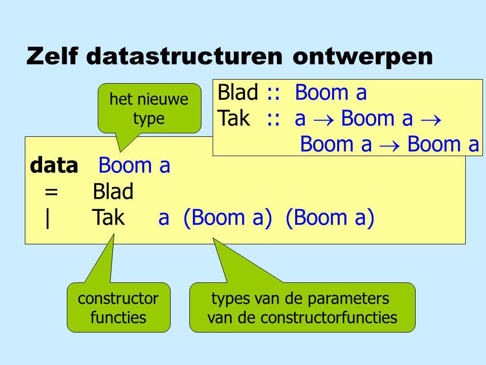 Zelf datastructuren ontwerpen data Boom a = Blad | Tak a (Boom a) (Boom a) constructor functies het nieuwe type types van de parameters van de constructorfuncties Blad:: Boom a Tak:: a  Boom a  Boom a  Boom a