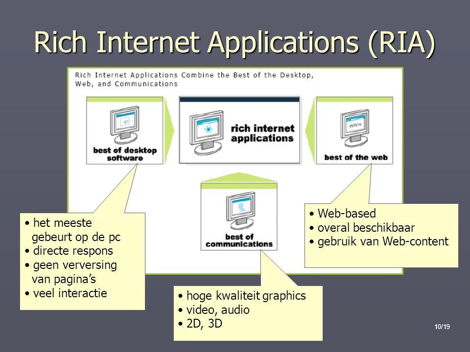 10/19 Rich Internet Applications (RIA) het meeste gebeurt op de pc directe respons geen verversing van pagina's veel interactie Web-based overal beschikbaar gebruik van Web-content hoge kwaliteit graphics video, audio 2D, 3D
