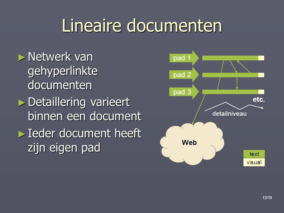 13/19 etc. text visual Web ► Netwerk van gehyperlinkte documenten ► Detaillering varieert binnen een document ► Ieder document heeft zijn eigen pad pa