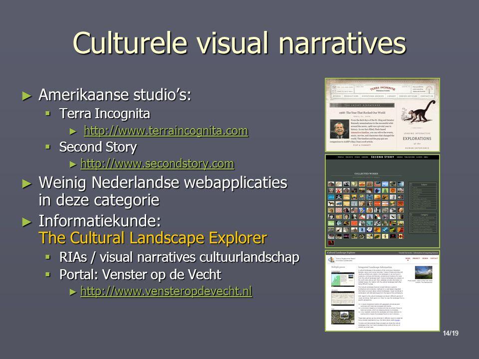 14/19 Culturele visual narratives ► Amerikaanse studio's:  Terra Incognita ► http://www.terraincognita.com http://www.terraincognita.com  Second Sto