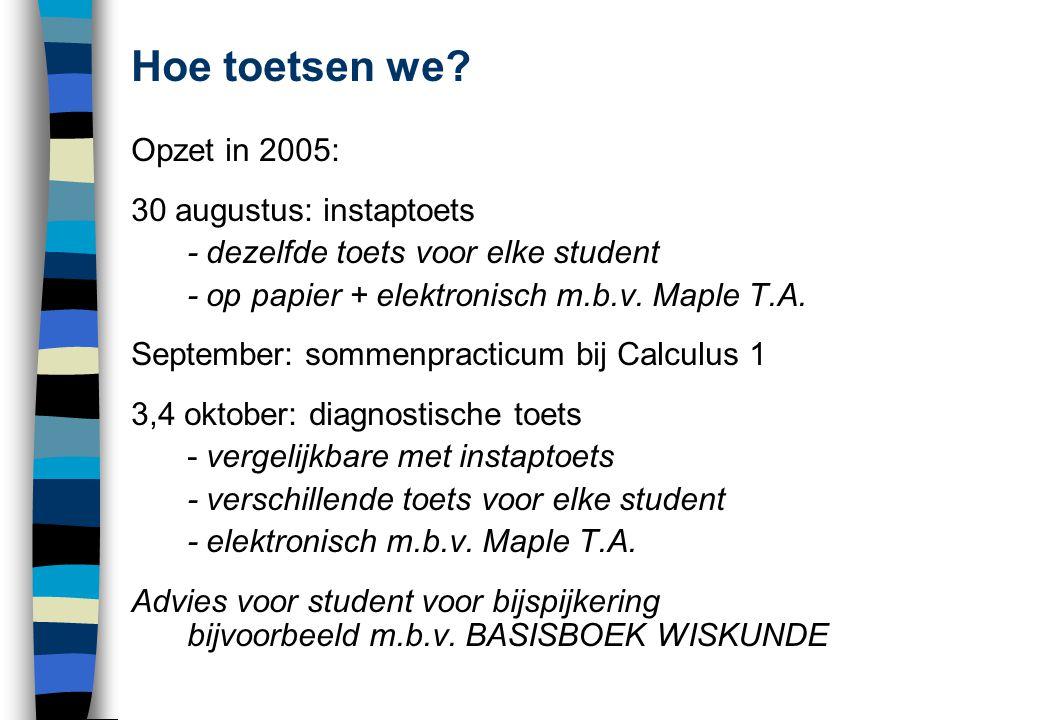 Hoe toetsen we? Opzet in 2005: 30 augustus: instaptoets - dezelfde toets voor elke student - op papier + elektronisch m.b.v. Maple T.A. September: som
