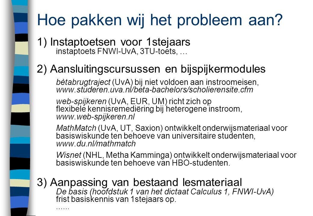 Hoe pakken wij het probleem aan? 1) Instaptoetsen voor 1stejaars instaptoets FNWI-UvA, 3TU-toets, … 2) Aansluitingscursussen en bijspijkermodules bèta