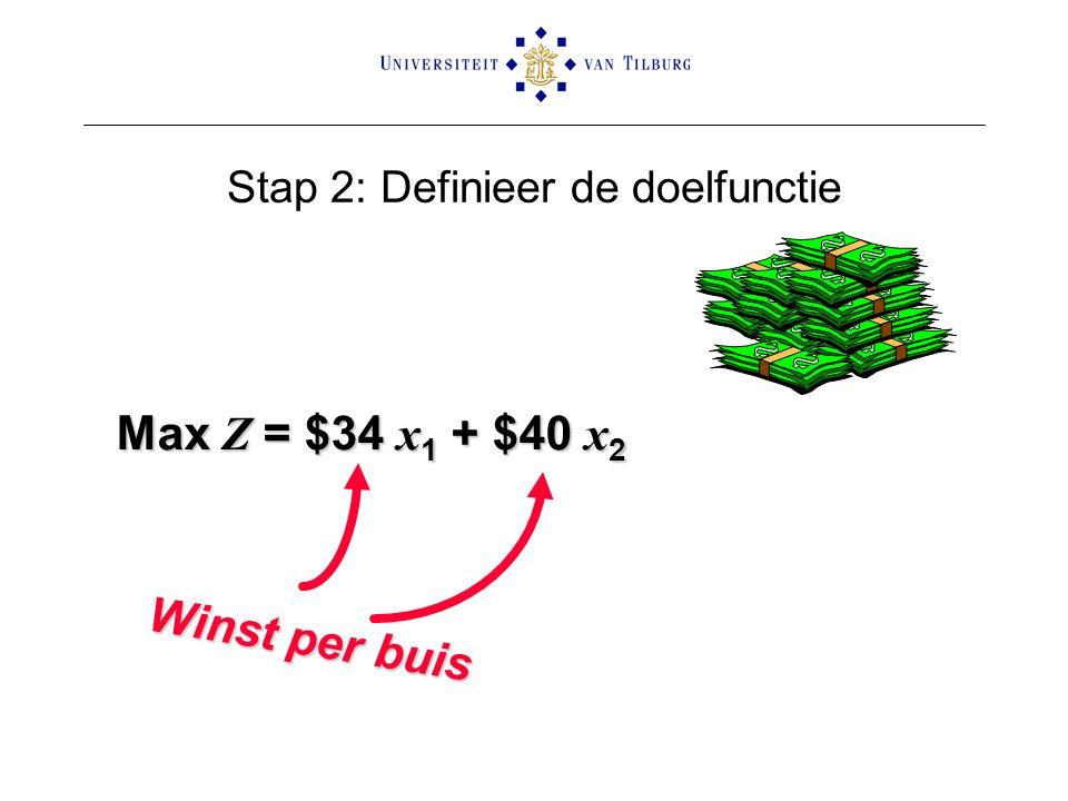Stap 2: Definieer de doelfunctie Max Z = $34 x 1 + $40 x 2 Winst per buis