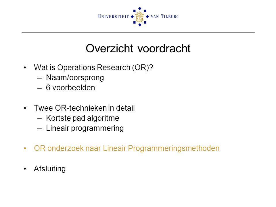 Overzicht voordracht Wat is Operations Research (OR)? –Naam/oorsprong –6 voorbeelden Twee OR-technieken in detail –Kortste pad algoritme –Lineair prog