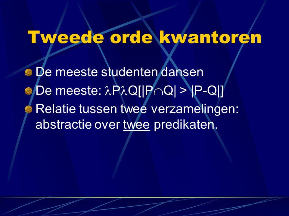 Tweede orde kwantoren De meeste studenten dansen De meeste: P Q[|P  Q| > |P-Q|] Relatie tussen twee verzamelingen: abstractie over twee predikaten.