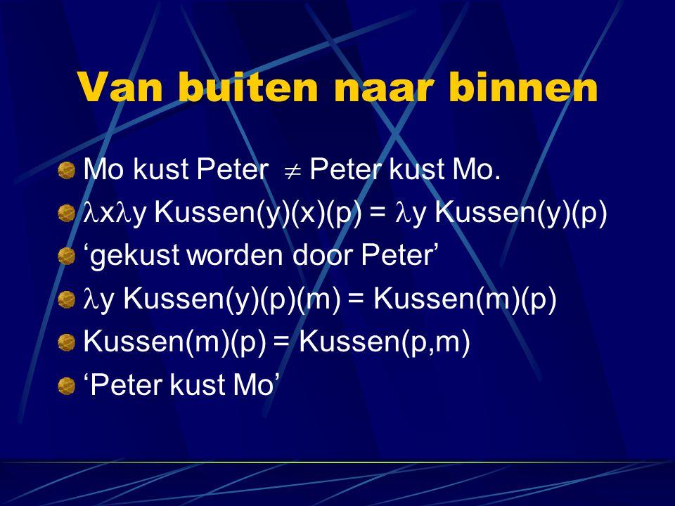 Van buiten naar binnen Mo kust Peter  Peter kust Mo. x y Kussen(y)(x)(p) = y Kussen(y)(p) 'gekust worden door Peter' y Kussen(y)(p)(m) = Kussen(m)(p)