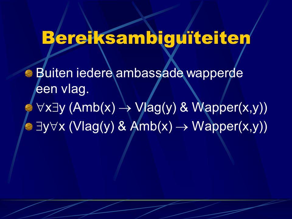 Bereiksambiguïteiten Buiten iedere ambassade wapperde een vlag.  x  y (Amb(x)  Vlag(y) & Wapper(x,y))  y  x (Vlag(y) & Amb(x)  Wapper(x,y))