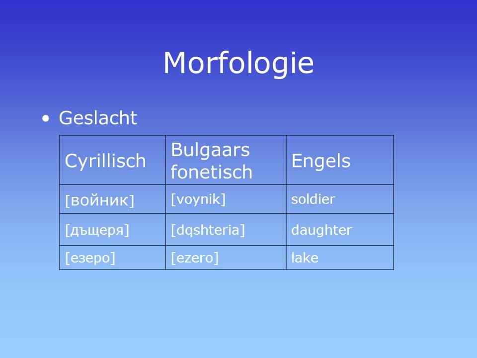 Geslacht Cyrillisch Bulgaars fonetisch Engels [ войник ] [voynik]soldier [дъщеря][dqshteria]daughter [езеро][ezero]lake