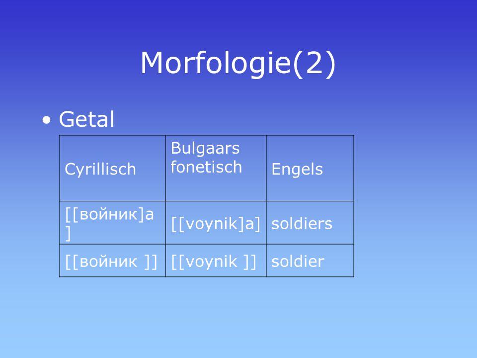 Morfologie(2) Getal Cyrillisch Bulgaars fonetisch Engels [[войник]а ] [[voynik]a]soldiers [[войник ]][[voynik ]]soldier