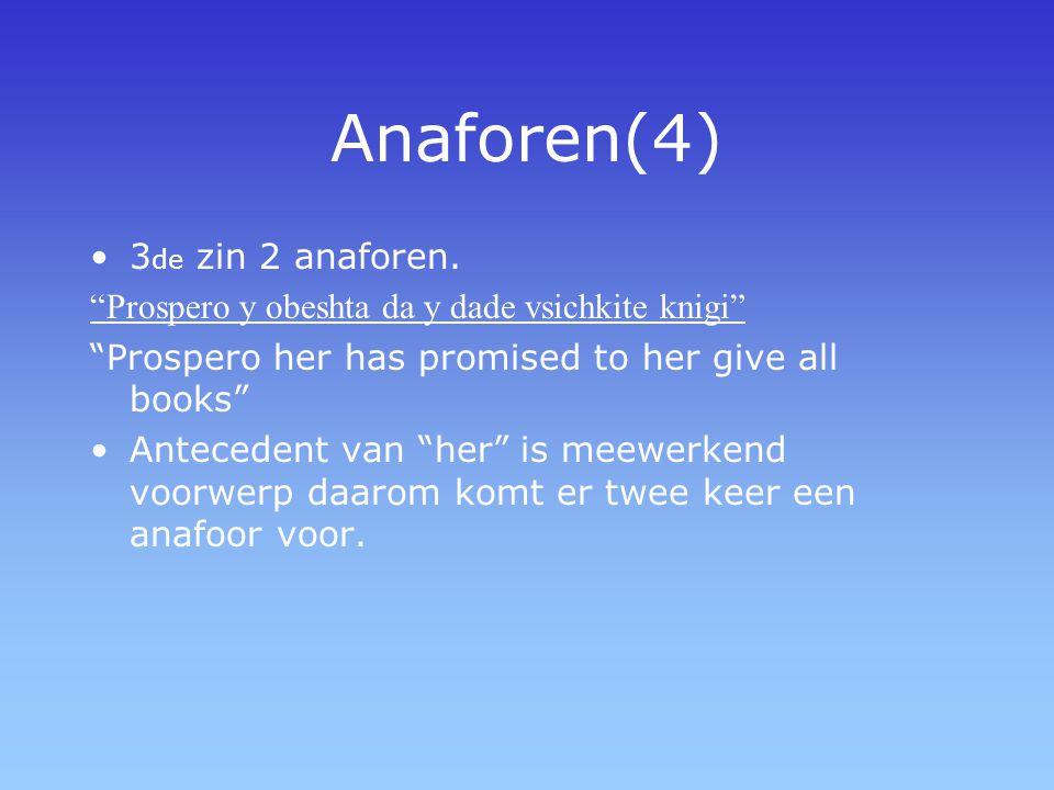 "Anaforen(4) 3 de zin 2 anaforen. ""Prospero y obeshta da y dade vsichkite knigi"" ""Prospero her has promised to her give all books"" Antecedent van ""her"""