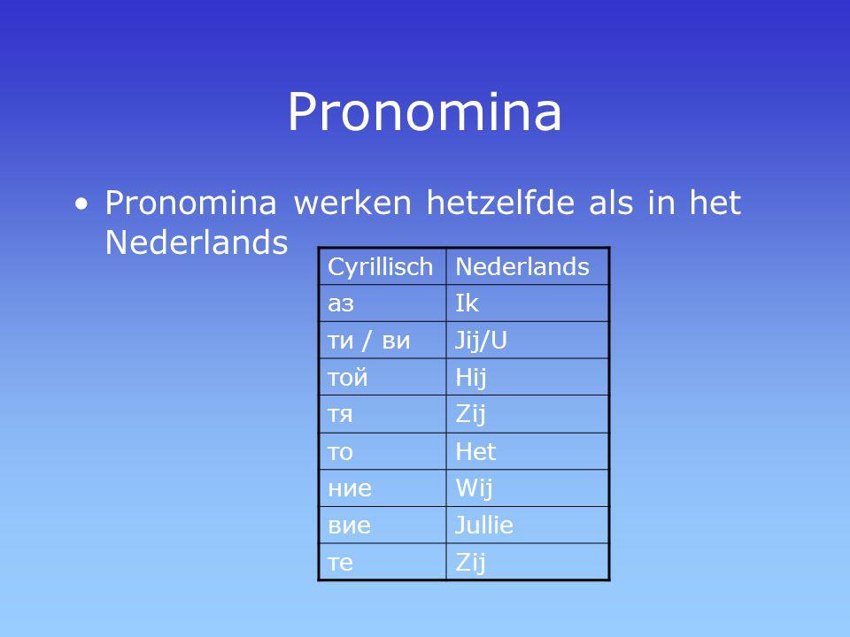 Pronomina Pronomina werken hetzelfde als in het Nederlands CyrillischNederlands азIk ти / виJij/U тойHij тяZij тоHet ниеWij виеJullie теZij