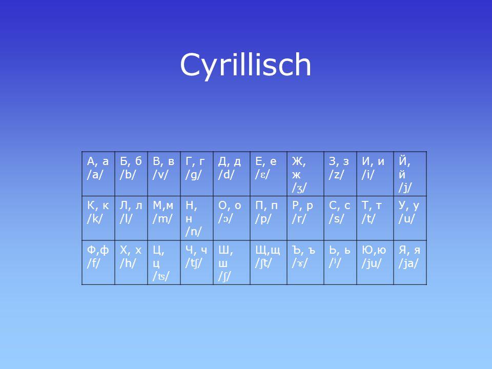 Cyrillisch А, а /a/ Б, б /b/ В, в /v/ Г, г /g/ Д, д /d/ Е, е / ɛ / Ж, ж / ʒ / З, з /z/ И, и /i/ Й, й /j/ К, к /k/ Л, л /l/ М,м /m/ Н, н /n/ О, о / ɔ /
