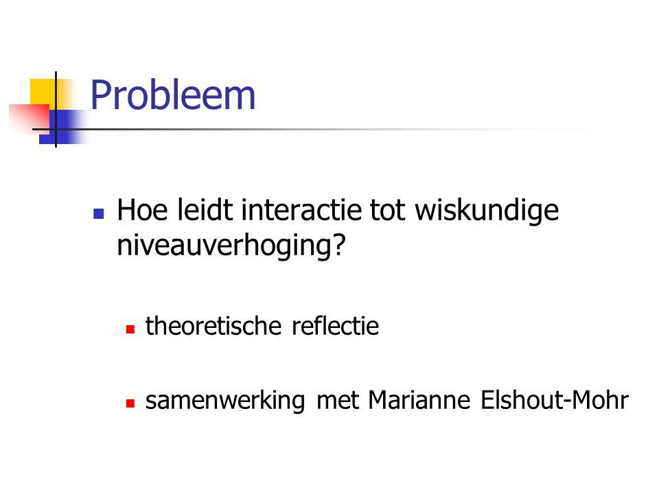 Probleem Hoe leidt interactie tot wiskundige niveauverhoging? theoretische reflectie samenwerking met Marianne Elshout-Mohr