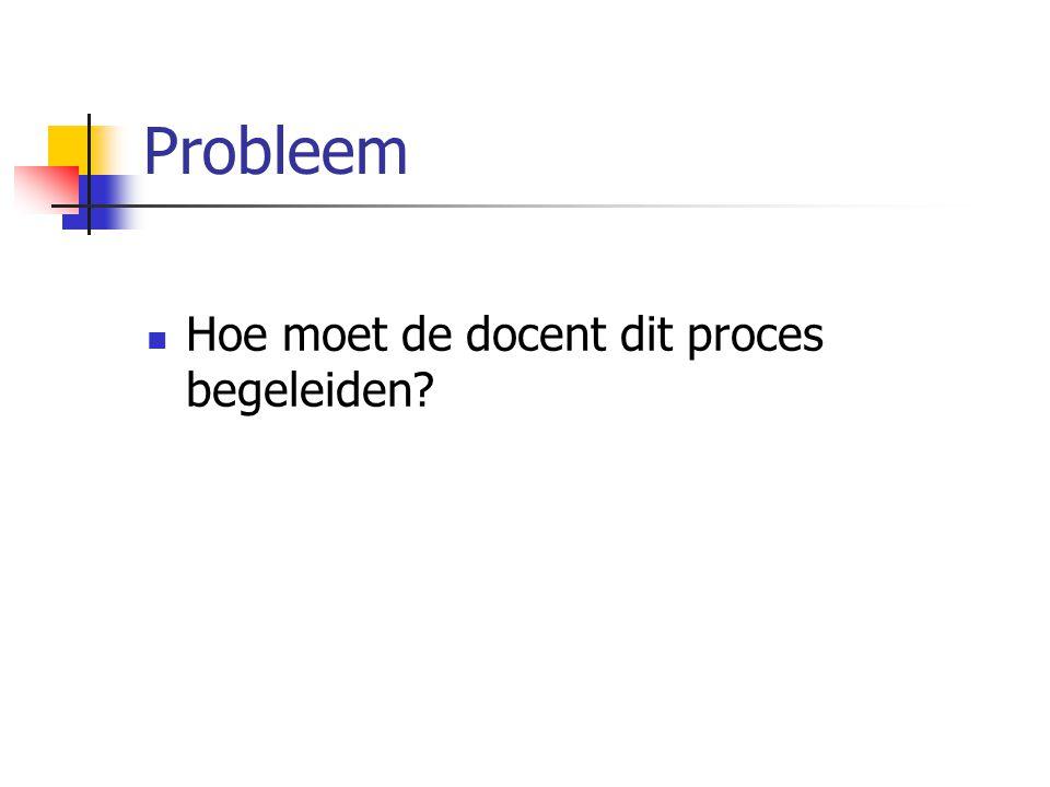 Probleem Hoe moet de docent dit proces begeleiden?