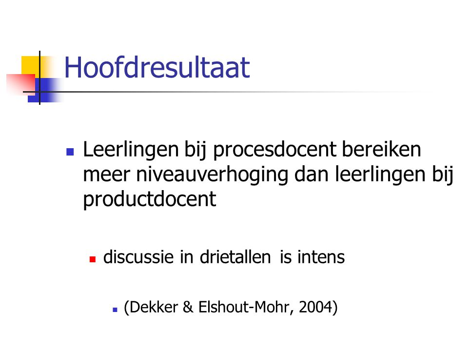 Hoofdresultaat Leerlingen bij procesdocent bereiken meer niveauverhoging dan leerlingen bij productdocent discussie in drietallen is intens (Dekker &