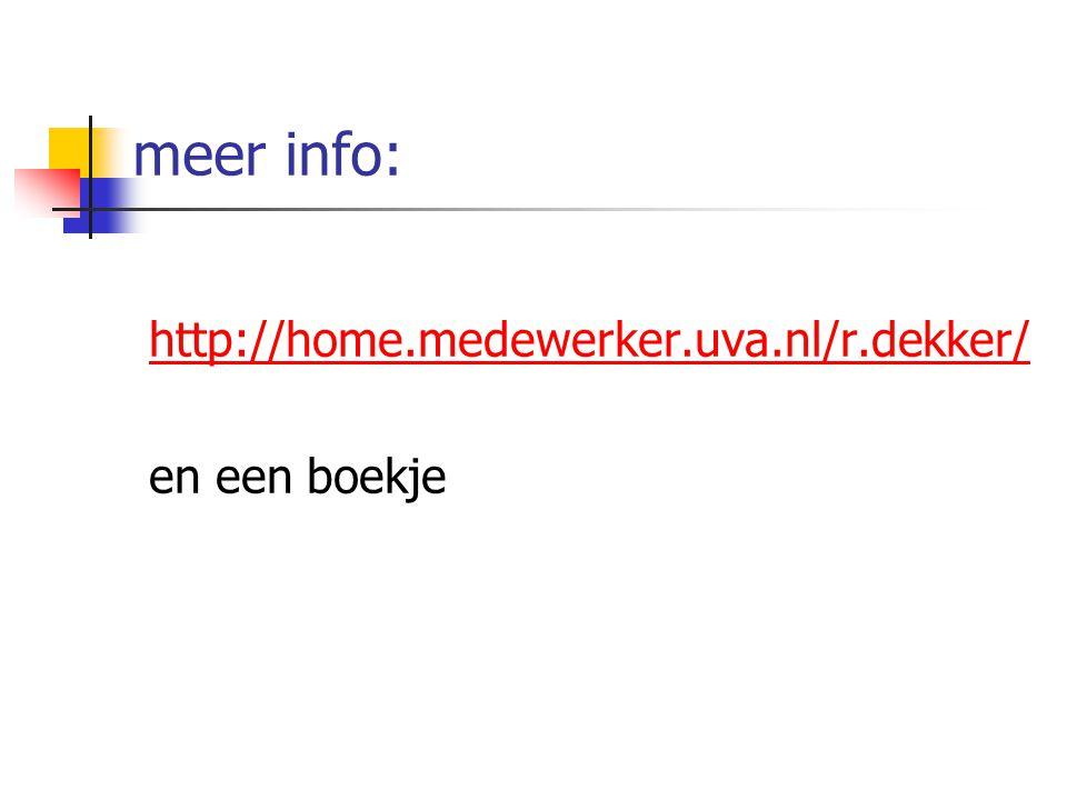 meer info: http://home.medewerker.uva.nl/r.dekker/ en een boekje