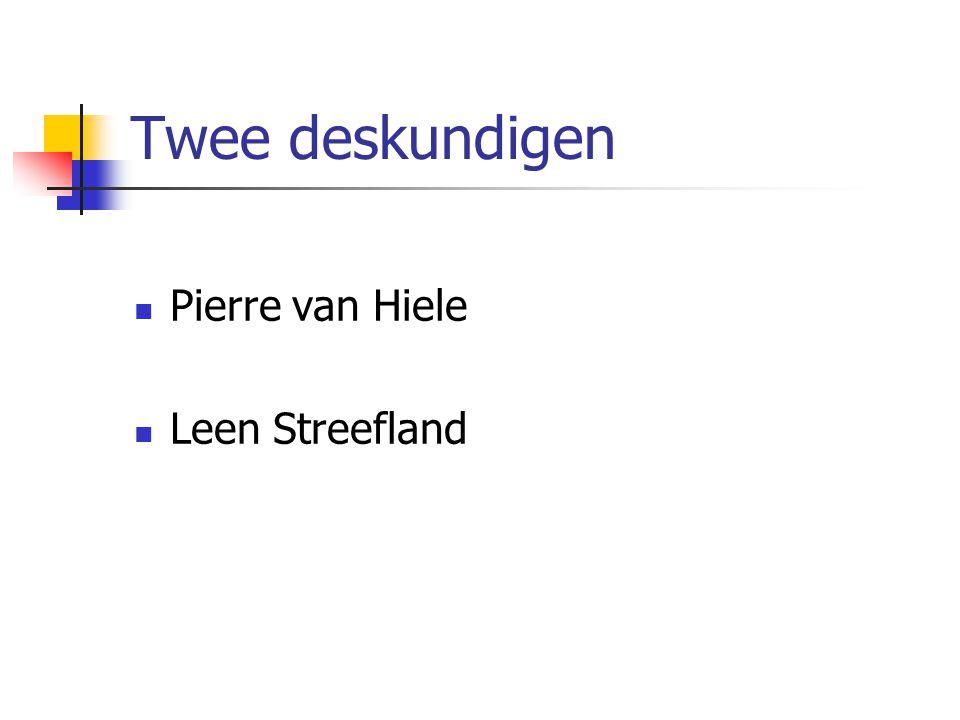 Twee deskundigen Pierre van Hiele Leen Streefland