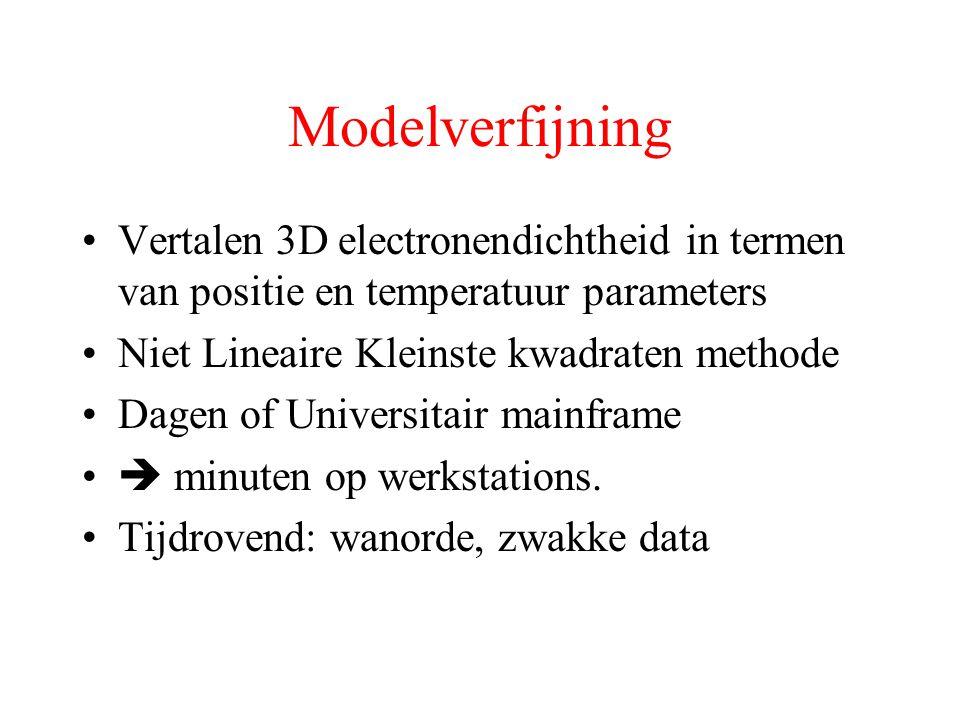 Modelverfijning Vertalen 3D electronendichtheid in termen van positie en temperatuur parameters Niet Lineaire Kleinste kwadraten methode Dagen of Universitair mainframe  minuten op werkstations.