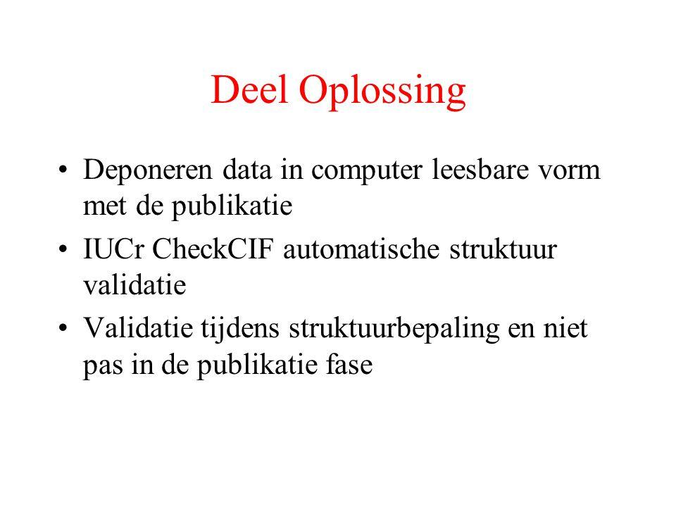 Deel Oplossing Deponeren data in computer leesbare vorm met de publikatie IUCr CheckCIF automatische struktuur validatie Validatie tijdens struktuurbepaling en niet pas in de publikatie fase