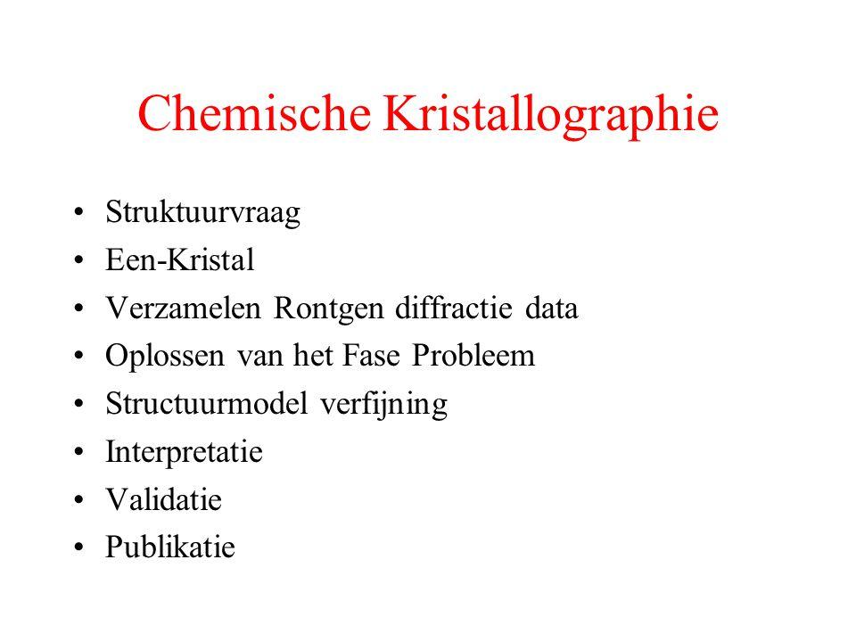 Data Verzameling 1912 – von Laue – Film 1913 – Bragg – Diffractometer Tot ~ 1965 Film (Weissenberg, etc.) Enkele structuren per jaar (veel 'handwerk') ~1960-1995 – Serial Detector Diffractometer ~ 50 datasets / jaar (geautomatiseerd) 1995 – heden – Image plate/ CCD Detectors enkele uren voor een dataset (1000/jaar) ~2007 – Digital Detectors (AXIOM, Pilatus etc.) nieuwe mogelijkheden: shutterless, low noise etc.