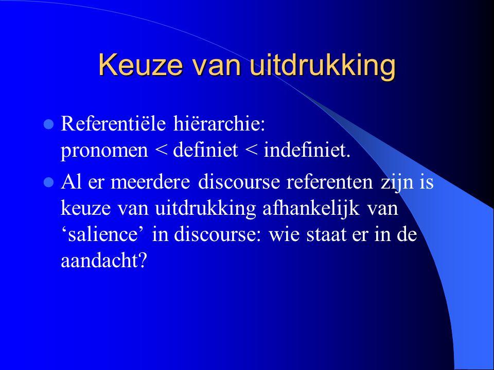 Keuze van uitdrukking Referentiële hiërarchie: pronomen < definiet < indefiniet. Al er meerdere discourse referenten zijn is keuze van uitdrukking afh