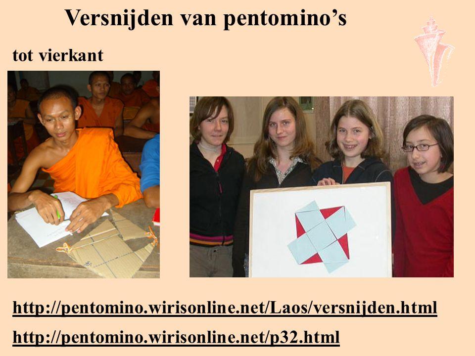 Versnijden van pentomino's http://pentomino.wirisonline.net/Laos/versnijden.html tot vierkant http://pentomino.wirisonline.net/p32.html