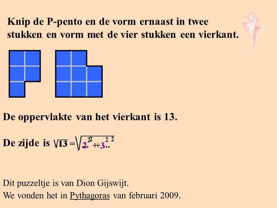 Knip de P-pento en de vorm ernaast in twee stukken en vorm met de vier stukken een vierkant. Dit puzzeltje is van Dion Gijswijt. We vonden het in Pyth