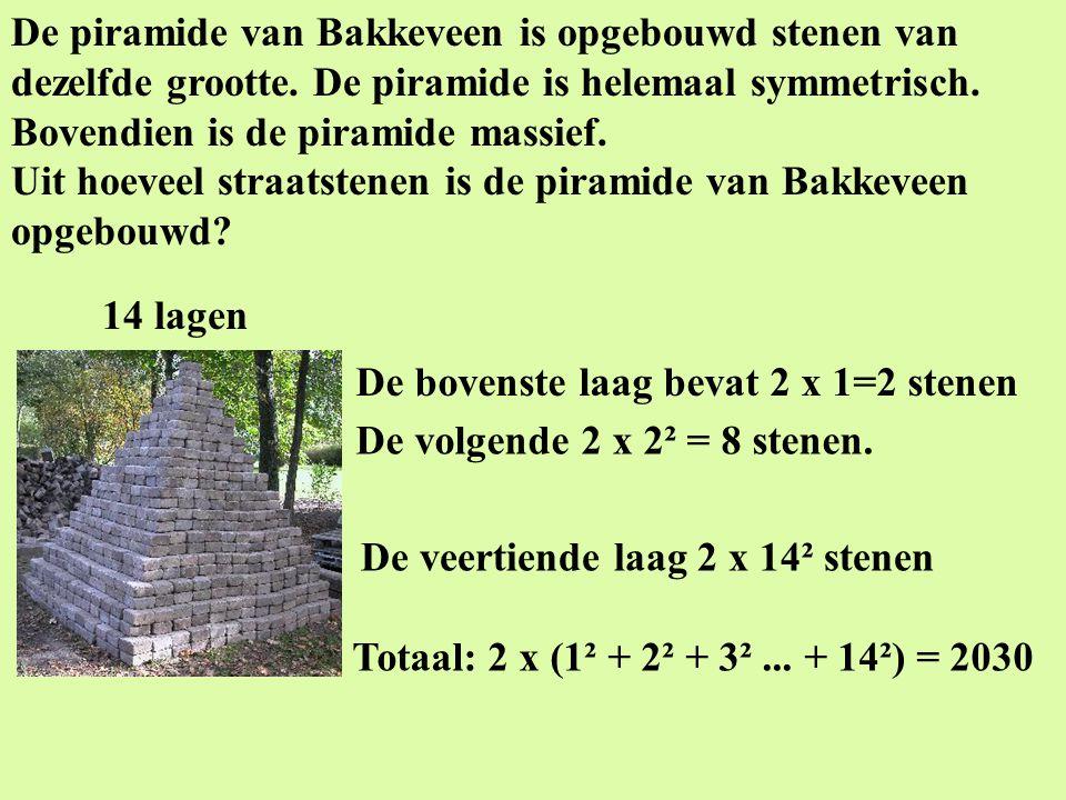 De piramide van Bakkeveen is opgebouwd stenen van dezelfde grootte. De piramide is helemaal symmetrisch. Bovendien is de piramide massief. Uit hoeveel