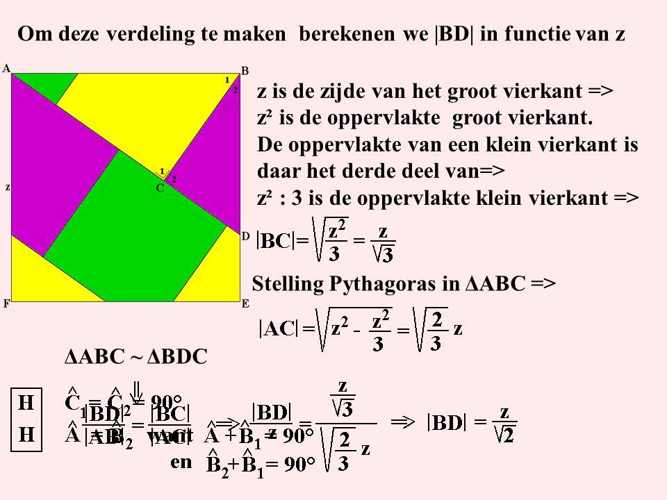 ΔABC ~ ΔBDC z is de zijde van het groot vierkant => z² is de oppervlakte groot vierkant. De oppervlakte van een klein vierkant is daar het derde deel