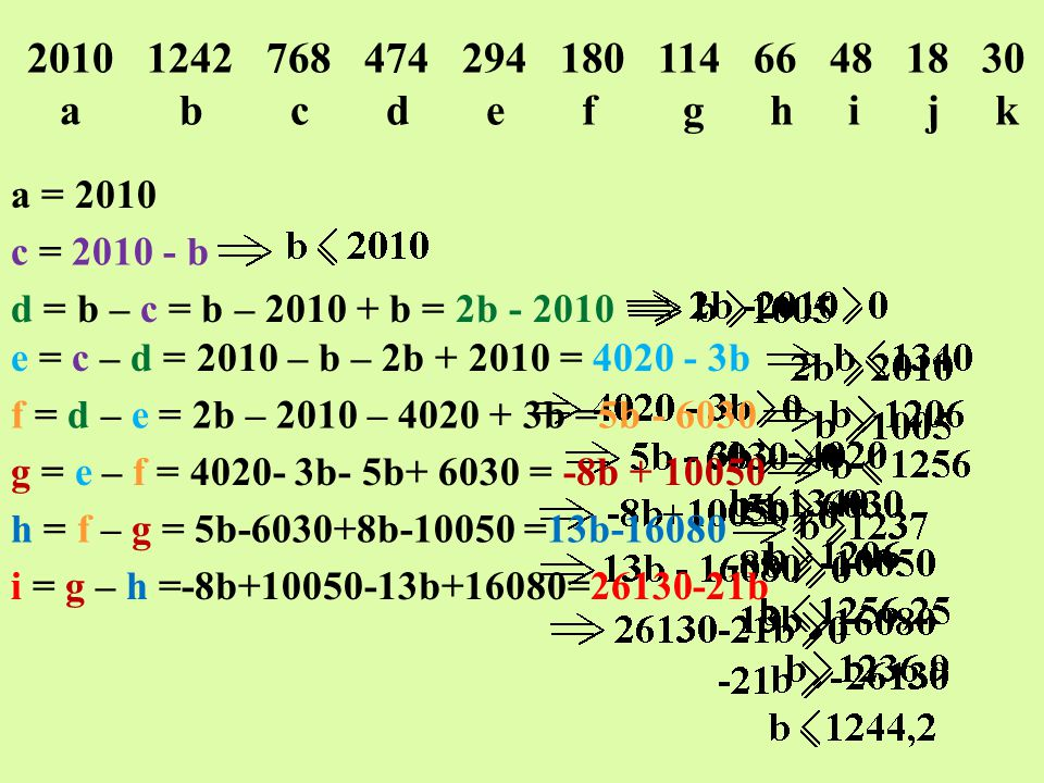 2010 1242 768 474 294 180 114 66 48 18 30 a b c d e f g h i j k c = 2010 - b d = b – c = b – 2010 + b = 2b - 2010 e = c – d = 2010 – b – 2b + 2010 = 4020 - 3b f = d – e = 2b – 2010 – 4020 + 3b =5b - 6030 g = e – f = 4020- 3b- 5b+ 6030 = -8b + 10050 h = f – g = 5b-6030+8b-10050 =13b-16080 i = g – h =-8b+10050-13b+16080=26130-21b j = h – i =13b-16080-26130+21b=34b-42210 k = i – j =26130-21b-34b+42210=-55b+68340 b = 1242
