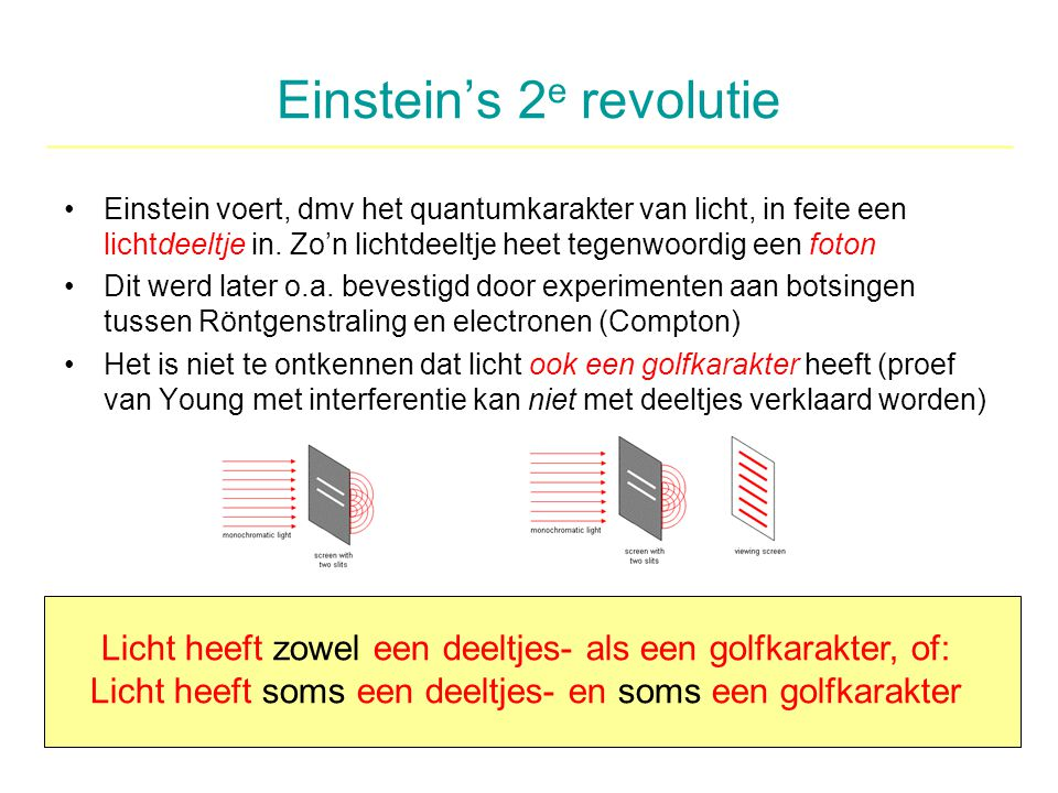 Einstein's 2 e revolutie Einstein voert, dmv het quantumkarakter van licht, in feite een lichtdeeltje in. Zo'n lichtdeeltje heet tegenwoordig een foto