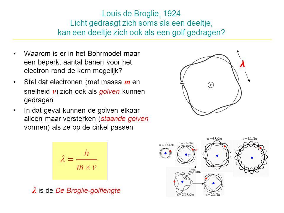 Louis de Broglie, 1924 Licht gedraagt zich soms als een deeltje, kan een deeltje zich ook als een golf gedragen? Waarom is er in het Bohrmodel maar ee