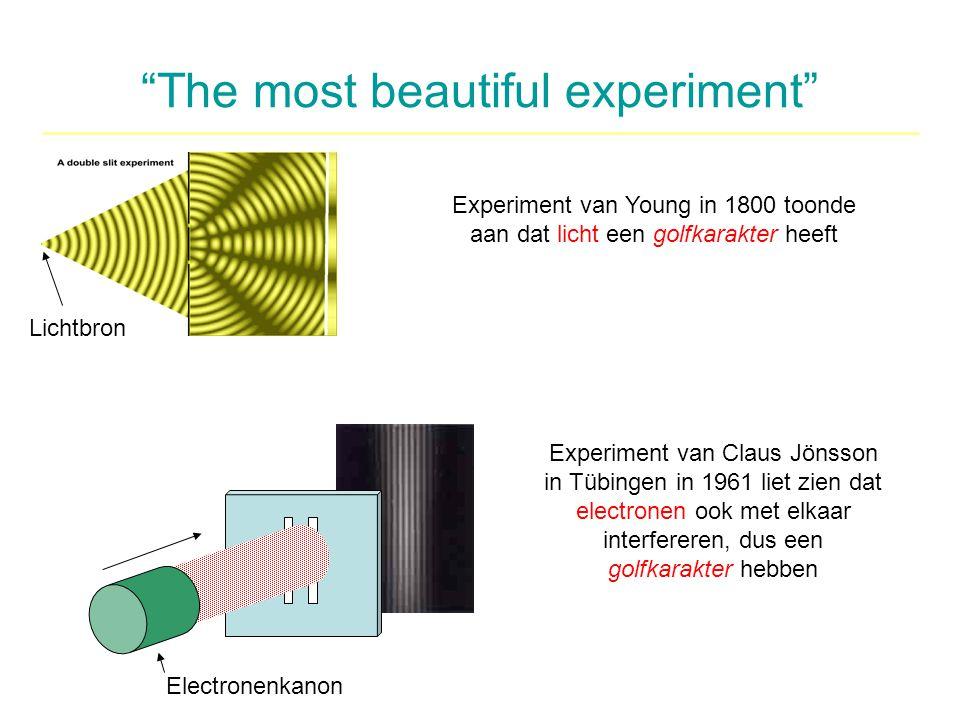 """""""The most beautiful experiment"""" Experiment van Young in 1800 toonde aan dat licht een golfkarakter heeft Experiment van Claus Jönsson in Tübingen in 1"""